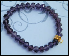 6 x 8mm PURPLE CRYSTAL GLASS BEADED STRETCH CHARM BRACELETS IN MIXED SIZES CHARM