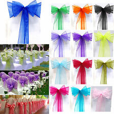10 25 50 100 PCS--WEDDING ORGANZA SASHES CHAIR COVER PARTY FULLER WIDER BOW SASH