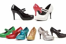 Ellie 421-Jane double strap mary jane platform pumps 4 inch high heels shoes