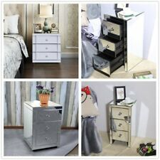 Mirrored Furniture Glass Bedside Cabinet Table W/ 3 Drawer Bedroom Nightstand NR