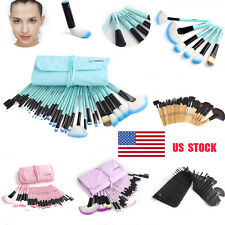 US 32 PCS Vander Soft Cosmetic Eyebrow Shadow Makeup Brush Set Kit + Pouch Bag