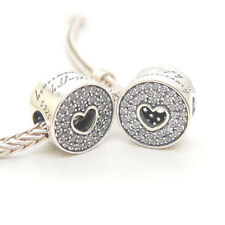 Genuine Authentic S925 Sterling Silver Love Lines Heart Clear CZ Charm