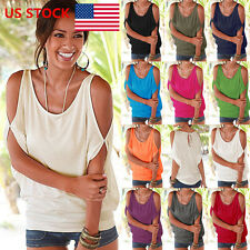 US Women Off Shoulder Batwing Sleeve Loose Plain Plus Size Tops T-Shirt Blouse