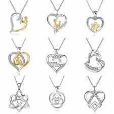 MOM 925 Pendant European Sterling Heart Silver Charms Bead for Bracelet Necklace