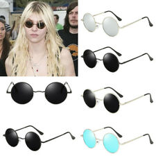 Cool Polarized Vintage Retro Men Women Round Metal Frame Sunglasses Black Lens