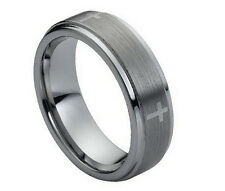 7mm Men & Ladies Tungsten Carbide Step Edge With Cross Design Wedding Band Ring
