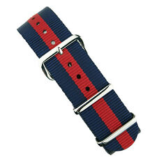 B & R Bands Navy/Red/Navy Premium Nylon Military Style Watch Band Strap