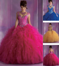 2017 Beads Quinceanera Dress Formal Prom Party Ball Gown Wedding Dresses Custom