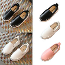 Boys Girls Kids Slip On Casual Toddler Leather Soft Flats Shoes Sneakers Loafer