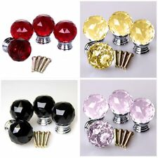 4x 30MM Crystal Glass Acryl Door Knobs Drawer Cabinet Furniture Kitchen Handle R