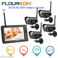 "Outdoor Digital Wireless DVR 2/3/4 Camera 7"" LCD Monitor CCTV Security System UK"