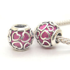 Authentic Genuine S925 Sterling Silver Encased in Love Cerise Bead Charm
