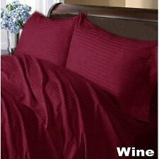 DUVET/FITTED/FLAT/PILLOW 1000 TC EGYPTIAN COTTON ALL SIZE WINE STRIPED