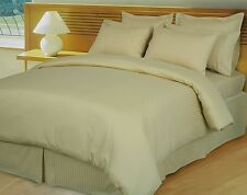 DUVET SET /FITTED/FLAT 1000TC EGYPTIAN COTTON SELECT US SIZE BEIGE  STRIPED