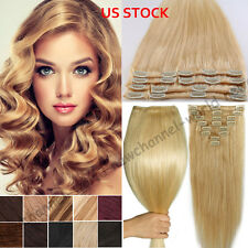 8PCS THICK Clip in 100% Remy Human Hair Extensions Full Head 70-120G Blonde B533