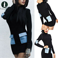Women Long Sleeve Bandage Bodycon Turtle Neck Evening Party Cocktail Mini Dress