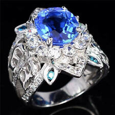 Woman Men 925 Silver Cocktail Ring Huge 7.8ct Sapphire  Vintage Ring Size 6-10