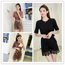 Women's Round Neck Short Sleeve T-Shirt+Crochet Lace Belted Shorts Pants Twinset