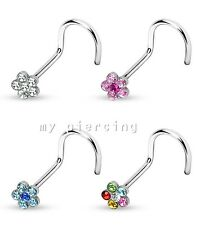 1PC of Flower Multi-Gem Paved Top 316L Surgical Steel Nose Screw