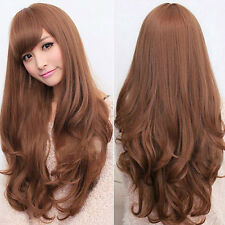Women Long Curly Wavy Full Wig Heat Resistant Cosplay Carnival Party Wigs 2color