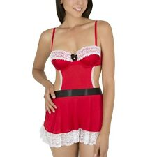 NEW SMART & SEXY Red Mrs Claus Underwire Apron Babydoll w/Thong French Maid Set