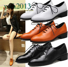 Fashion Women's Genuine Leather Ankle Boots Flats Round Toe Oxfords Lace Up SHOE
