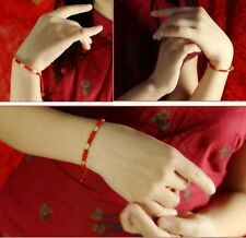 Hand Braided Red Lucky String Rope 14K Gold plated Adjustable Bracelet NEW