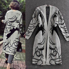 Women's Loose Long Knitted Tassels Cardigan Sweater Knitwear Coat Bat Sleeve New