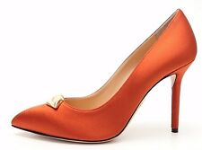 "CHARLOTTE OLYMPIA ""LIPPY EVA"" rust silk satin pumps / heels sz. 38, 39 NEW!"
