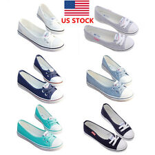 US Women Casual Canvas Shallow Mouth Shoes Slip On Flats Loafer Shoes Oxfords