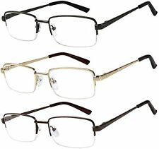 3 Reading Glasses Half Rim Metal Glasses Reading Quality Spring Hinge Readers