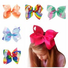1PC Cute Girl Bow Rainbow Ribbon Hairpin Grosgrain Butterfly Hair Clip Children*