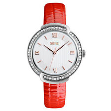 Crystal Rhinestone Bezel Women Watch with Roman Numerals Dial and Leather Strap