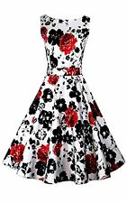 ACEVOG Vintage 1950's Floral Spring Garden Party Picnic Dress Cocktail