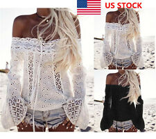 US Women Ladies Lace Off Shoulder Long Flared Sleeve Party Tops T-Shirt Blouse