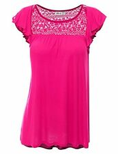 Doublju Womens Round Neck Ruffle Cap Sleeve Loose Fit Top W/ Lace Detail
