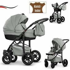 Baby Pram ALU Leather Pushchair Buggy Stroller +Car Seat Travel System 3in1.