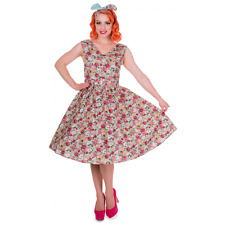 Dolly and Dotty Petal Vintage Floral Swing Dress in Green