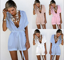 Women Ladies V Neck Button Lace Up Plain Jumpsuit Playsuit Catsuit Short Rompers