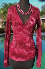 Cache $118 FAUX WRAP RUCHED PEEK-A-BOO LACE Top NWT XS/S/M STRETCH CRANBERRY