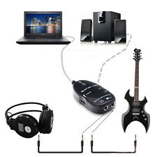 For PC MAC Recording Black Guitar To USB Interface Link Cable Audio Adapter