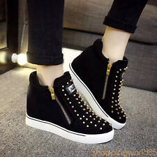 2017 HOT WOMENS Hidden Wedge Heel High Top Sneakers Studded Ankle Sports Shoes