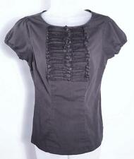 THE LIMITED Top Blouse XS Cap Sleeves Black White Pinstripe Ruffle Detail Fitted
