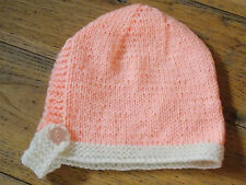 Brand New Hand Knitted Peaches & Cream Baby Bonnet 0-3 / 3-6 / 6-9 Months