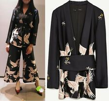 MW009187 - FASHION CRANE BIRD PRINT BLAZER / OUTERWEAR WITH BELT (SIZE XS - L)