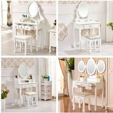 Chic White Makeup w/ Drawers Mirror Dressing Table & Stool Sets Bedroom Retro