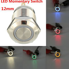 Chrome 4 Pin 12mm Led Light Metal Push Button Momentary Switch Waterproof 12 v