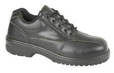 Mens New Black Leather 5 Eye Ladies Safety Shoes Toe Cap 5 6 7 8 9