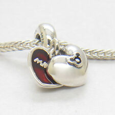 Authentic Genuine S925 Sterling Silver Minnie & Mickey Love Heart Dangle Charm