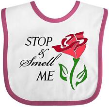 Inktastic Stop And Smell Me Stylized Red Rose Baby Bib General Flower Blossom